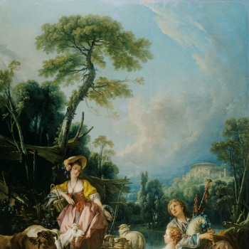 Pastoral with a Bagpipe Player